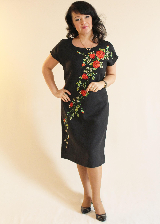 8abd1eb20a1050c Льняное платье 99-2016 - Фабрика художественных изделий г.Бобруйск